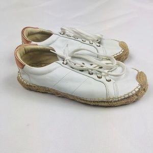 Soludos White Leather Espadrille Sneakers Sz 9